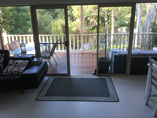 Home exchange in,Australia,Coffs Harbour,View of lagoon from kitchen bench