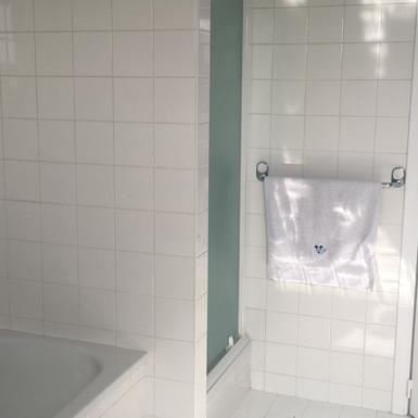 Home exchange in,Belgium,Zwijndrecht,Bathroom with shower and bath