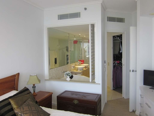 Master bedroom ensuite with folding shutters