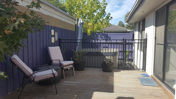 Home exchange in,Australia,MOOROOLBARK,The front deck with Jacuzzi and umbrellas