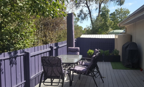 Home exchange in,Australia,MOOROOLBARK,The back deck with BBQ and gate direct to reserve.