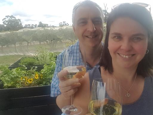 Home exchange in,Australia,MOOROOLBARK,Susan and Dwayne enjoying a local winery