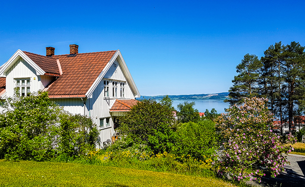 Old Norwegian house with sunny location