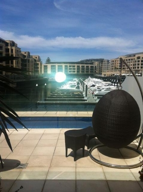 Home exchange in,Australia,GLENELG NORTH,Downstairs deck with lap-pool has great views