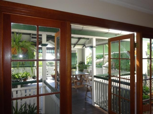 Home exchange in,Australia,WINDSOR,Dining room French doors to huge covered deck