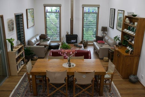 Home exchange in,Australia,BEXHILL,Dining & living area with cosy wood heater.