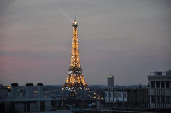 View from our balcony over the Eiffel Tower.