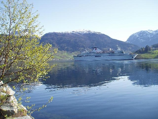 BoligBytte til,Norway,Ulvik,Ulvik in May. Our house just behind the ship