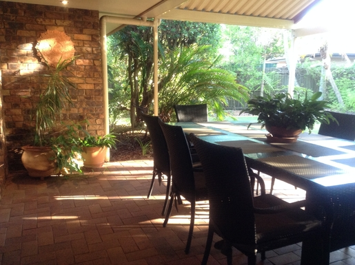 Home exchange in,Australia,Sunshine Coast,Covered outdoor BBQ area in tropical setting.