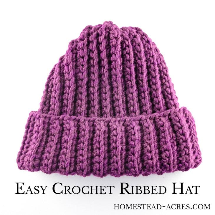 Easy Crochet Ribbed Hat Pattern
