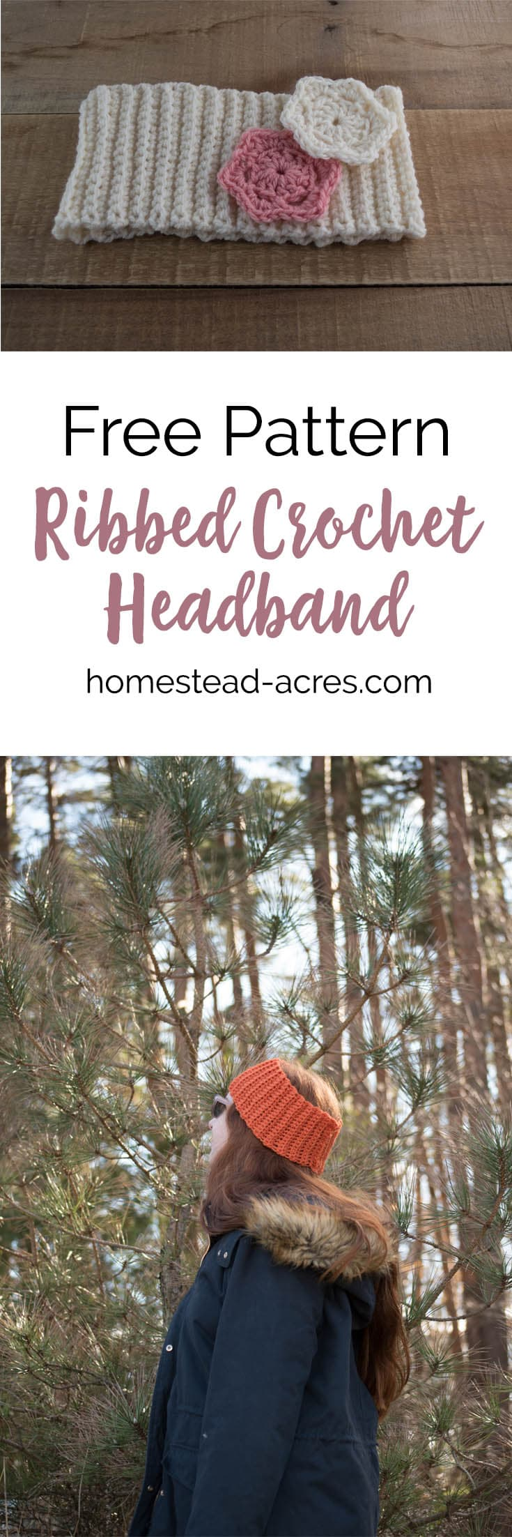 Ribbed crochet headband pattern in sizes baby to women's. This easy crochet headband pattern is perfect for beginners. It works up so quick and easy! Decorate it with buttons or flowers. #Crochet #Crochetpattern