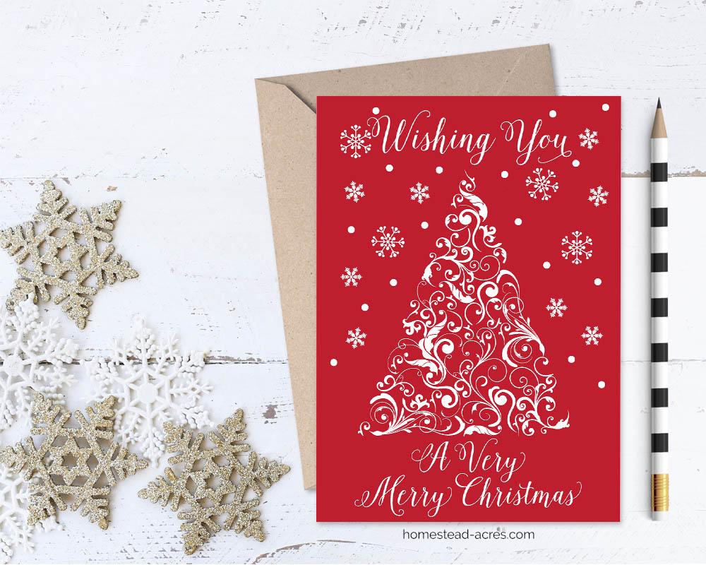 Printable Christmas Card Wishing You A Very Merry Christmas