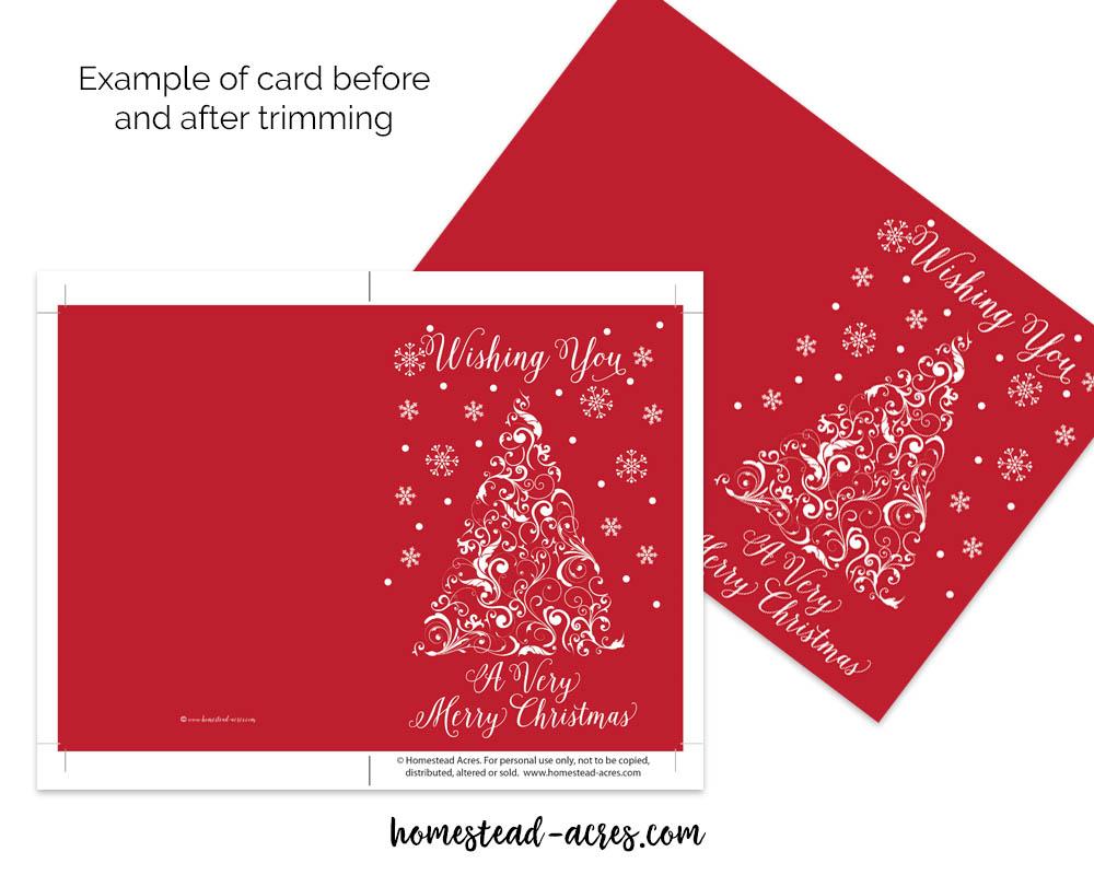 red very merry christmas printable card - Merry Christmas Cards Printable