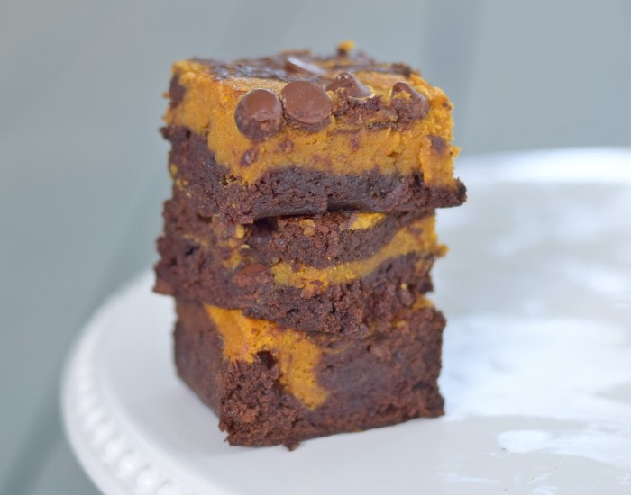 Easy pumpkin swirl brownies