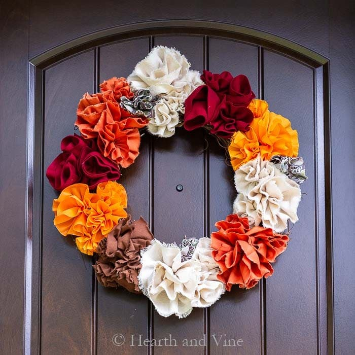 DIY Fabric Flowers Fall Wreath