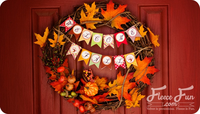 Fall Wreath With Printable Banners