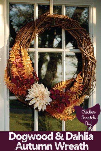 DIY Dogwood and dahlia autumn wreath