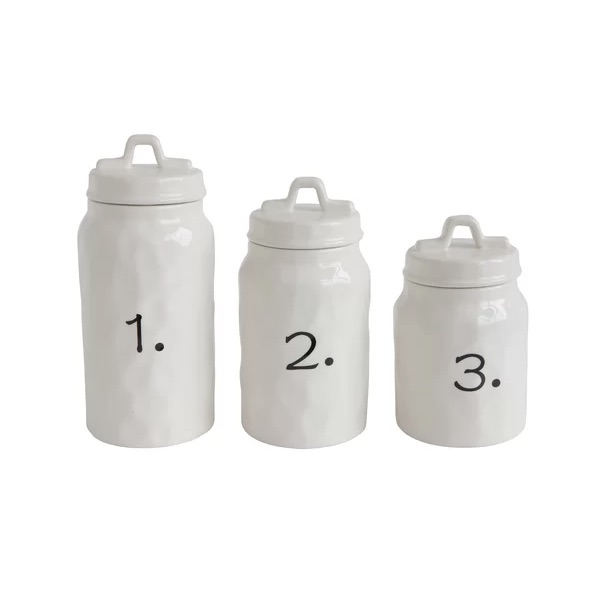 Ceramic Canister Number 3 Piece Kitchen Canister Set