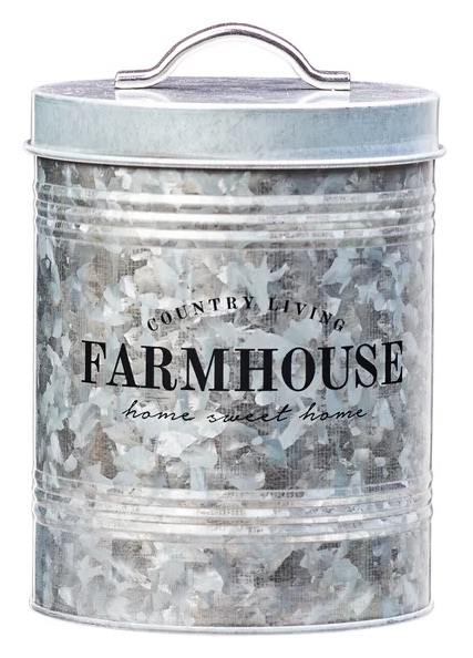 Farmhouse Galvanized Metal Canister