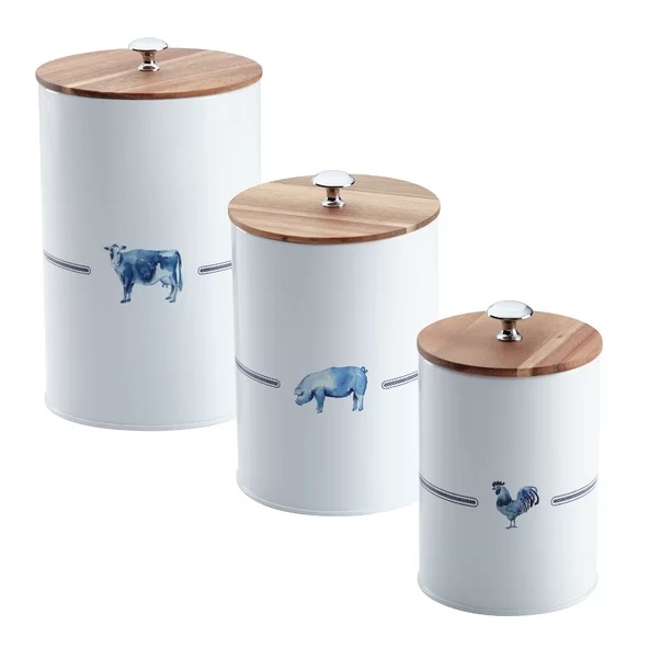 Farmhouse Canisters With Wooden Lids