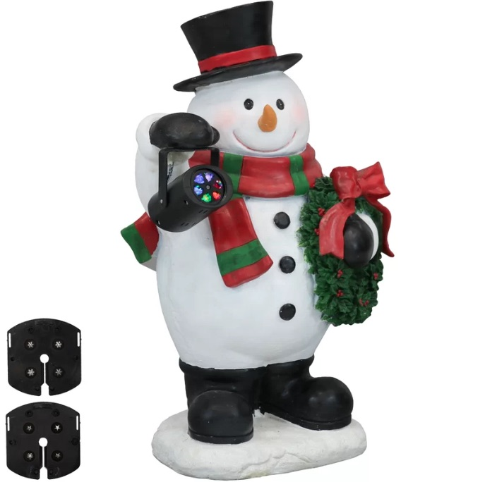 Festive Traveling Snowman Statue with Projector Light Figurine