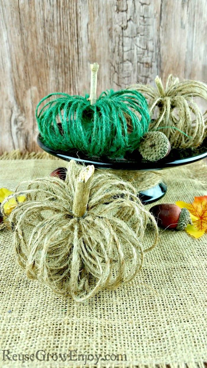 DIY twine pumpkins fall craft