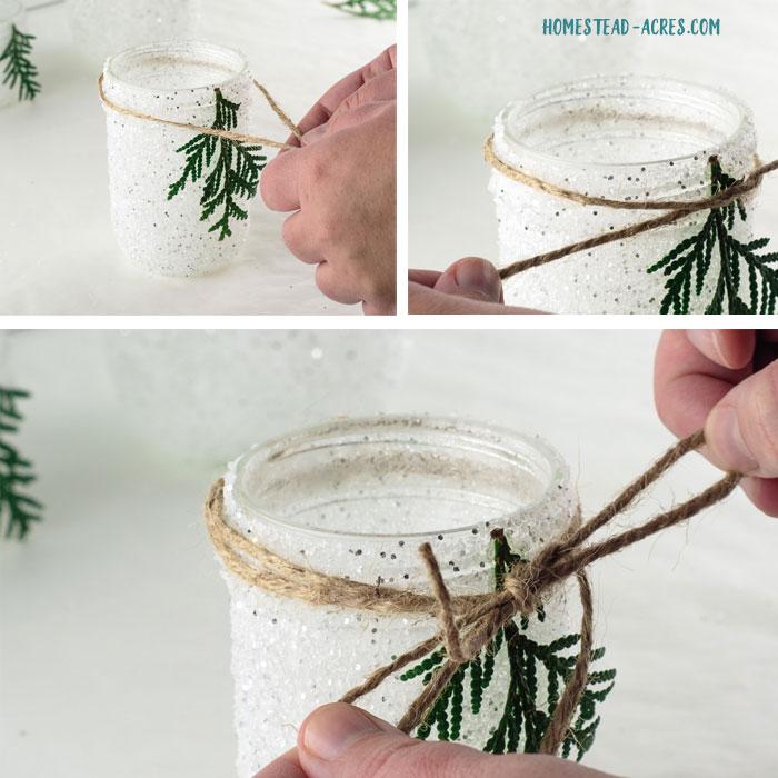 Snowy mason jars with twine bow.
