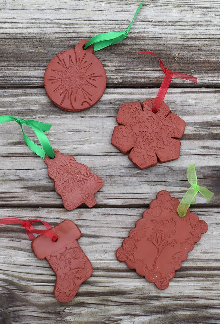 DIY Stamped Clay Diffuser Christmas Ornaments