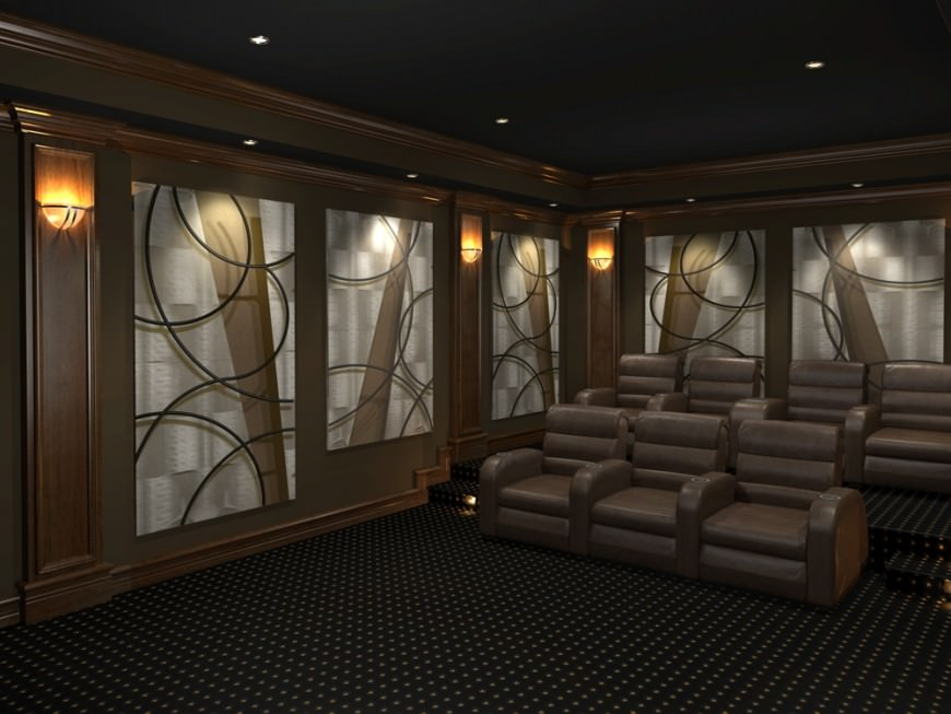 Large dark home theater with 2 rows of plush theater chairs.
