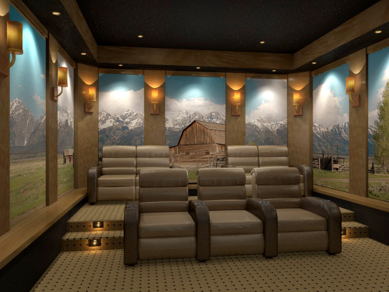 Home theater with mural wall by 3D Squared.