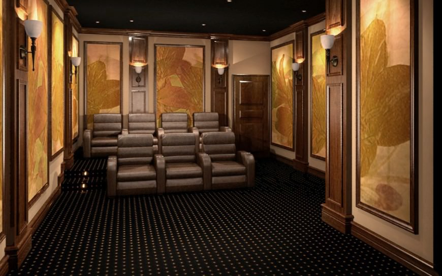 Classic cinema inspired home theater with paneled walls by 3D Squared Home Theaters.