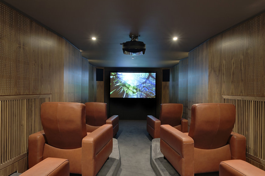 Intimate home theater with plush reclining chairs.