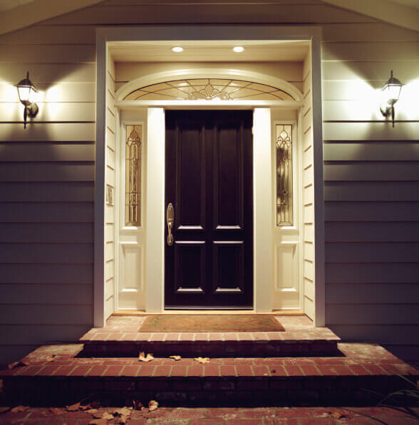 Elegant front door to a home