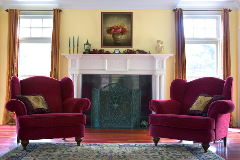 armchairs for living room. In front of a fireplace  these matching red armchairs with subtle swirl pattern provide 650 Formal Living Room Design Ideas for 2018