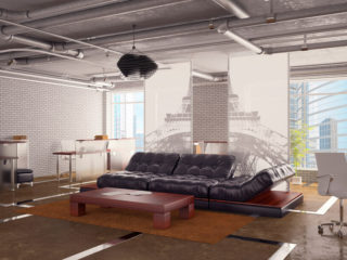Loft apartment with exposed ceiling pipes
