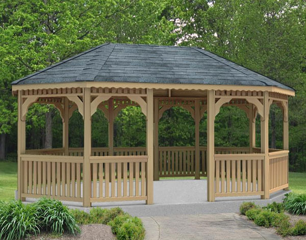 Sometimes called elongated hexagon gazebos, oval gazebos aren't perfect ovals. However, they are great for keeping that classic gazebo look while gaining the kind of space that rectangular shapes offer.
