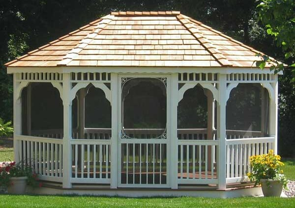 Another classic oval gazebo, this time in vinyl. The spaces are screened in  to - 110 Gazebo Designs & Ideas - Wood, Vinyl, Octagon, Rectangle And More
