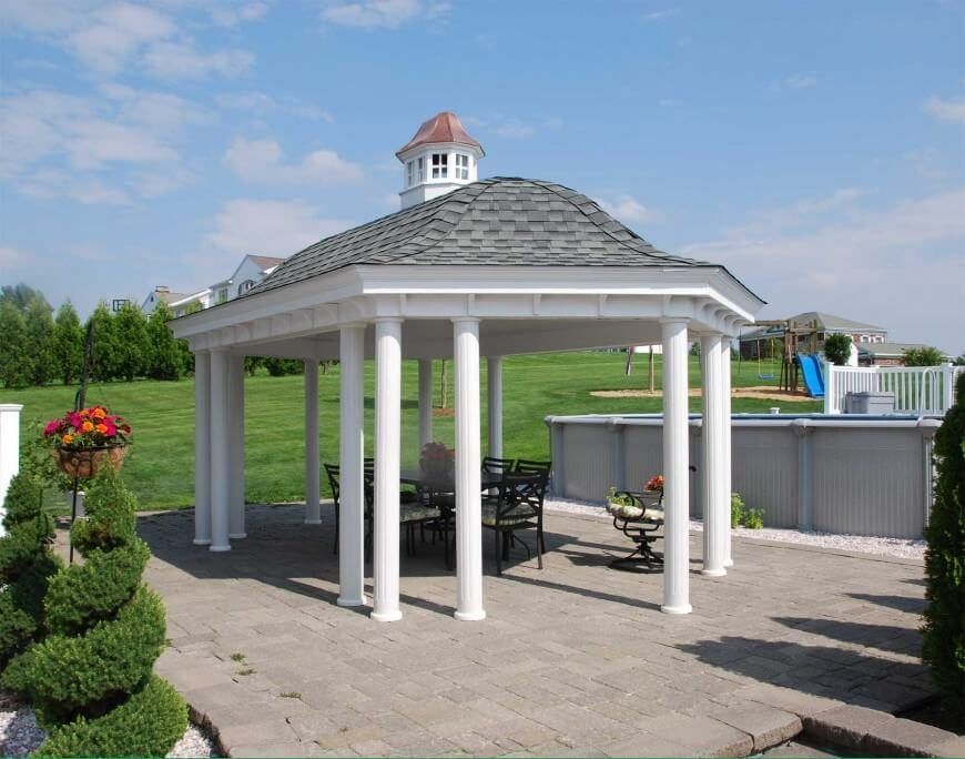 custom pool enclosure hexagon shape. Another Great Example Of An Open Design Pavilion Style Gazebo. This One Features A Bell Custom Pool Enclosure Hexagon Shape O