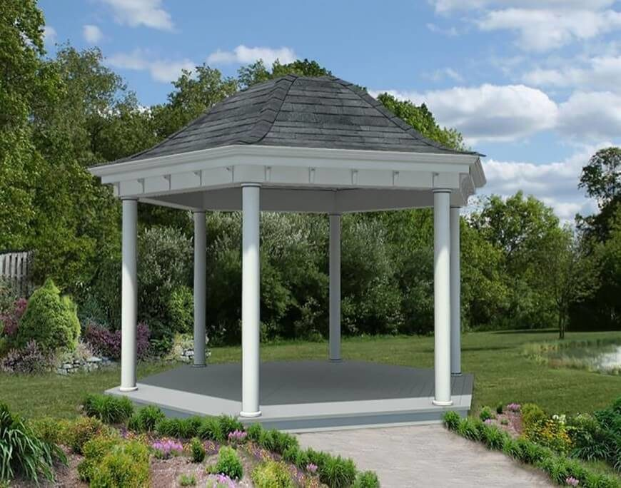 A hexagonal gazebo has the classic shape we love, but feels a little more open than a gazebo with more sides.