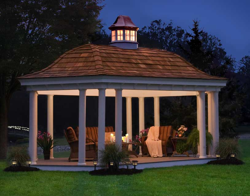 Elongated hexagon gazebo