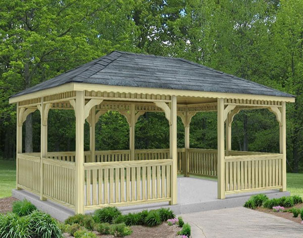 Delightful A Lovely Single Roof Pine Rectangular Gazebo Sitting On A Concrete Pad.  This Is