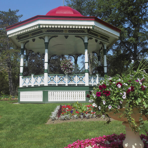 A Colorful Gazebo That Is Large Enough To Be Used As A Bandstand. The  Surrounding