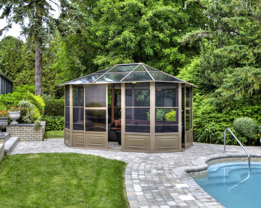 A Glass Roof Makes An Enclosed Gazebo The Perfect Unattached Solarium For A  Backyard. Here