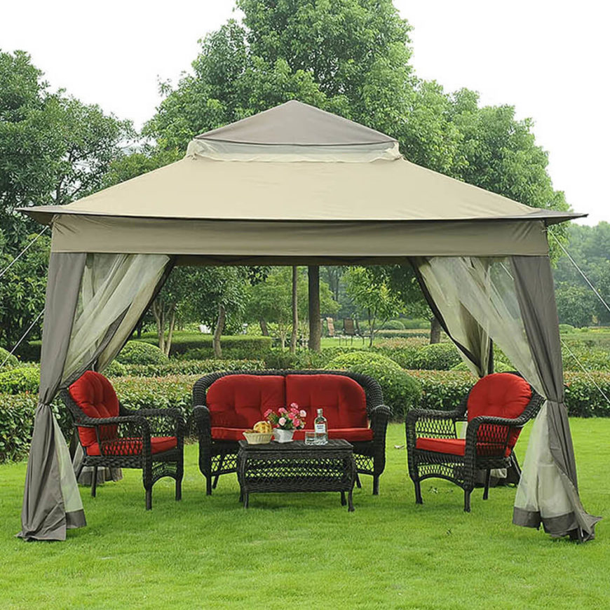 While this gazebo is typically open the screen or shades can be drawn if privacy : canvas gazebo canopy - memphite.com
