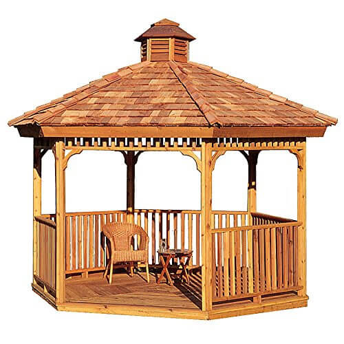 14 Cedar Wood Gazebo Designs - Octagon, Rectangle, Hexagon and Oval on