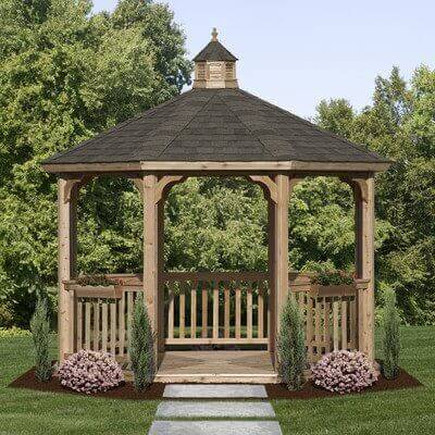 Contemporary 12 foot octagon gazebo with tar shingles