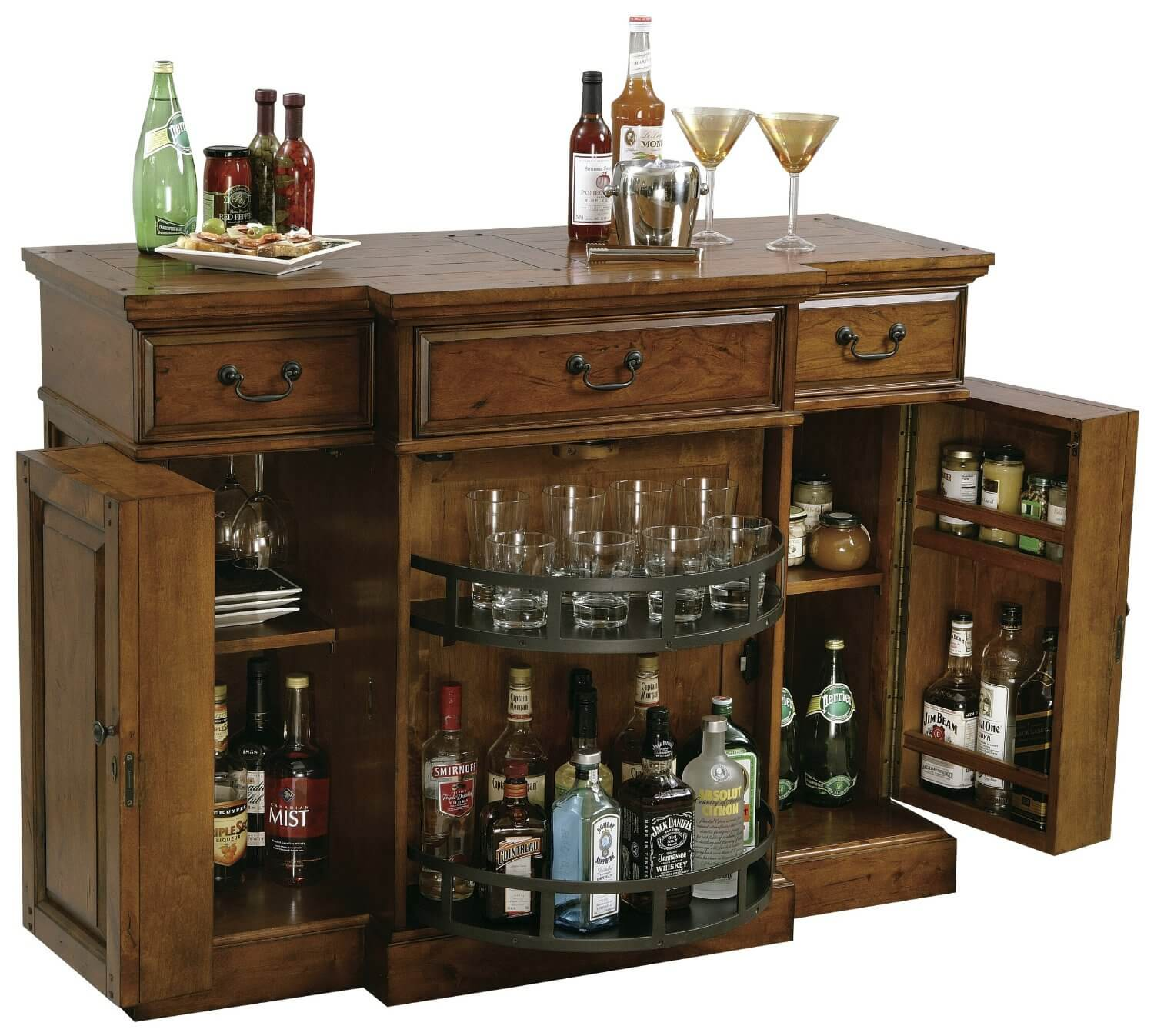 Wine and liquor serving cabinet
