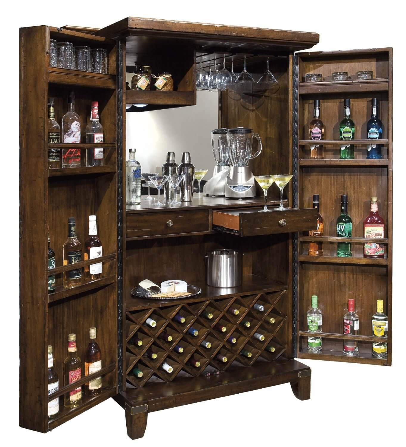 Standing wine and liquor cabinet in dark wood