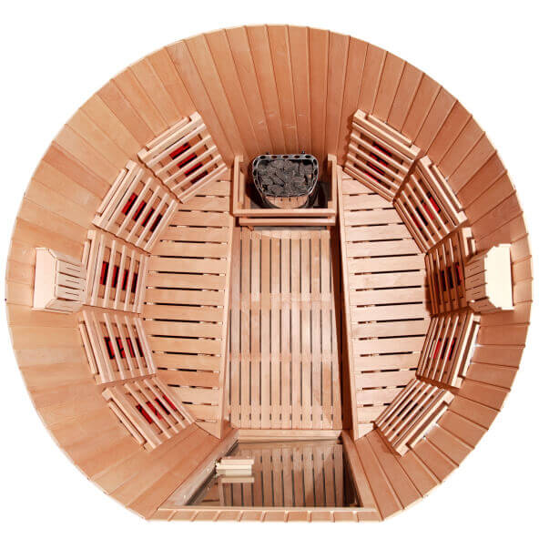 Aerial view of a round sauna with two opposing benches.
