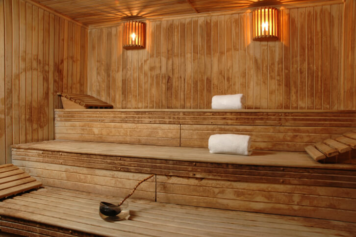 A Good Sauna Design For Lying Down. Three Levels, Each Bench Having A Head